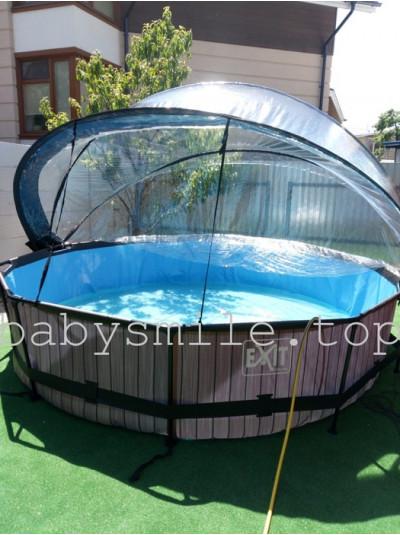 Бассейн круглый 360 см с куполом EXIT дерево