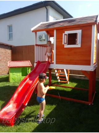Детский деревянный домик с горкой 220 см