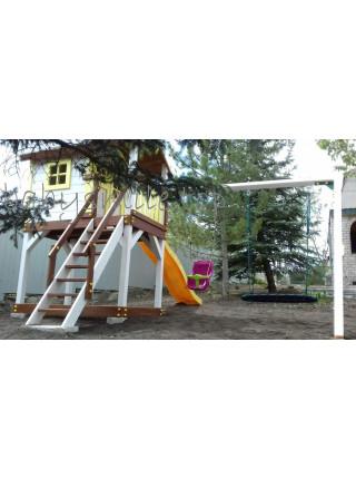 Будиночок дерев'яний з гойдалкою і гіркою Spielplatz