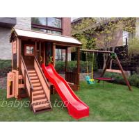 Деревянный домик + качели и песочница
