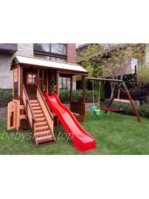 Дерев'яний будиночок + гойдалка і пісочниця Spielplatz