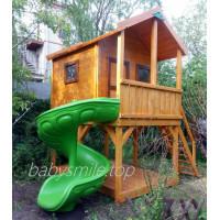 Домик деревянный двухэтажный с горкой винтовой