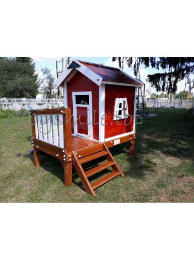 Детский деревянный домик Флигель с горкой