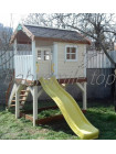 Дитячий дерев'яний будиночок з гіркою 220 см і пісочницею