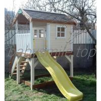 Детский деревянный домик с горкой 220 см и песочницей