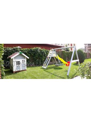 Игровая площадка + домик деревянный