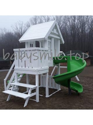 Дитячий майданчик з дерева з двома гірками
