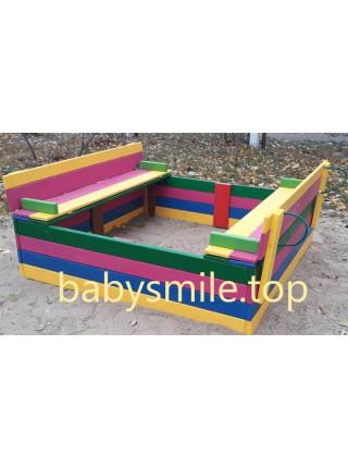 Дитяча пісочниця з кришкою кольорова 1.5х1.5м