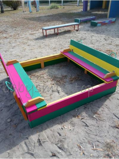 Песочница детская с крышкой цветная  1.5х1.5 м