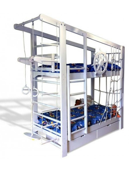 Двухъярусная спортивная кровать Юнга с ящиками и навесными элементами