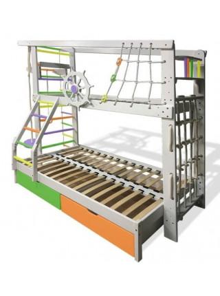 Двухъярусная кровать трёхместная Юнга цветная