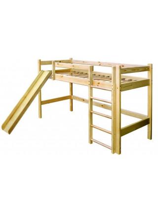 Кровать чердак из сосны с горкой