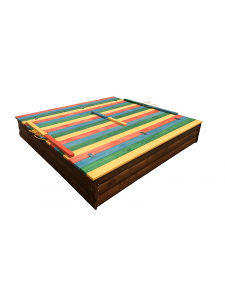 Детская песочница 1,5х1,5 метра цветная с крышкой