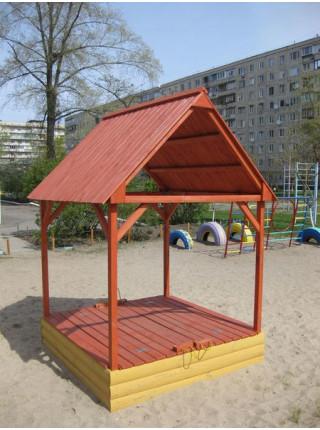 Песочница 150 см цветная с крышкой и крышей