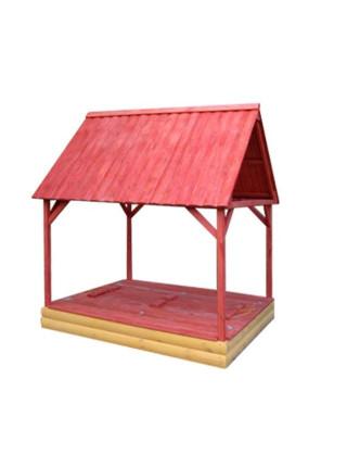 Детская песочница 150 см цветная с крышкой и крышей