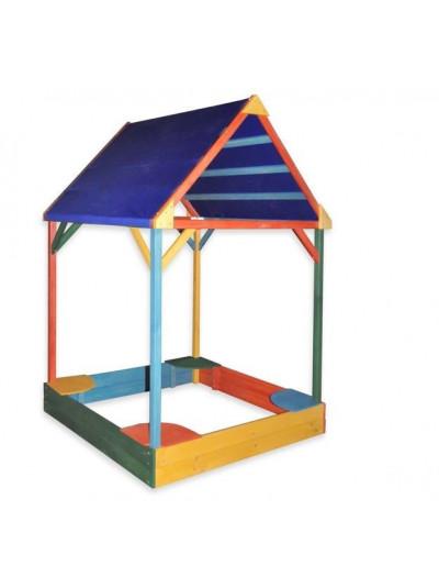 Пісочниця з тентовим дахом кольорова 150 см