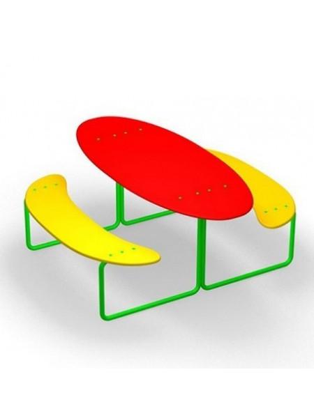 Детский столик с лавками Овальный