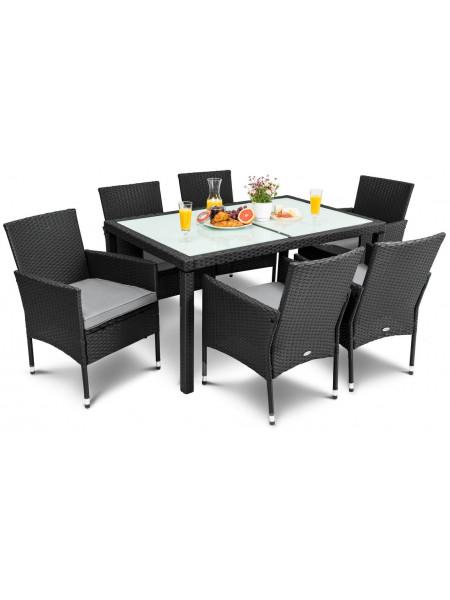 Мебель садовая VERONA 6+1 чёрный