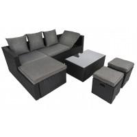 Садовый диван в комплекте Bologna чёрный/серый