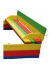 Песочница 2*2 метра детская с крышкой цветная И-200