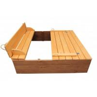 Пісочниця з кришкою дерев'яна тонована