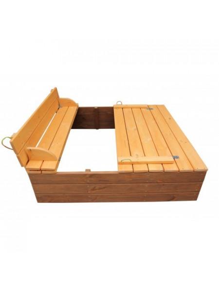 Песочница с крышкой  деревянная тонированная