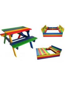 Комплект столик с лавками и песочница с крышкой Ир-2