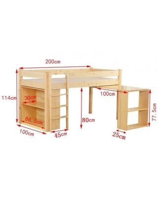 Ліжко-горище зі столом і полицями