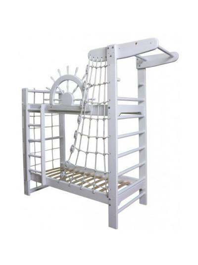 Кровать двухъярусная со шведской стенкой Пират Белый