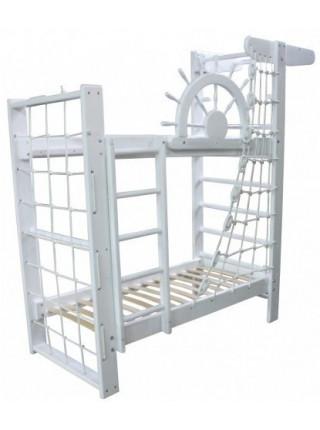 Ліжко двоярусне зі шведською стінкою Пірат Білий