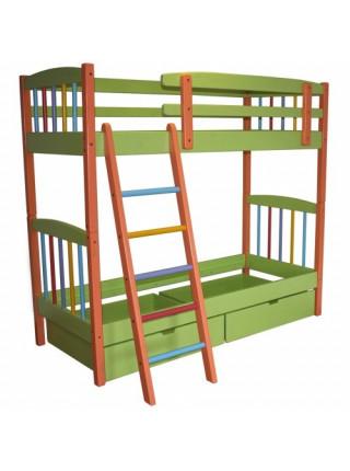 Дитяче двоярусне ліжко-трансформер Райдужне