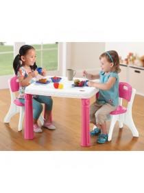 Детский столик со стульчиками пластиковый розовый