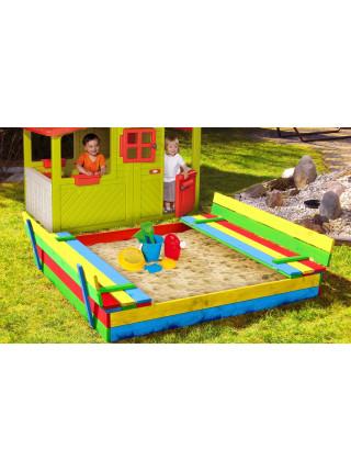Песочница 150 см для детей с лавками