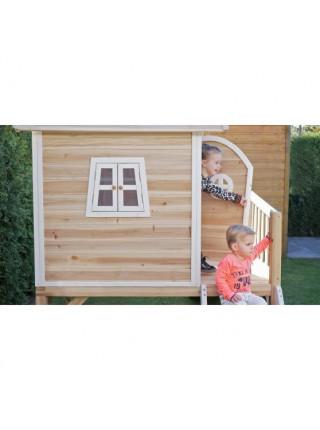 Детский деревянный домик Фантазия с горкой