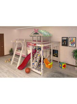 Домик кровать с спортивно-игровым комплексом