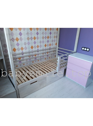 Кровать домик 190*80 см с ящиками Мое желание Ясень