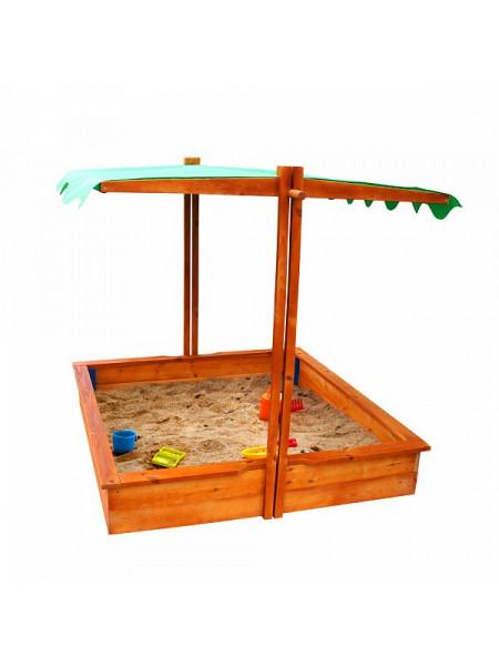 Деревянная песочница с крышей 2 в 1
