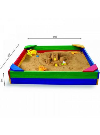 Песочница детская деревянная цветная 145 см