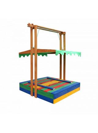 Песочница деревянная с опускающейся крышей