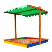 Дерев'яна пісочниця із дахом