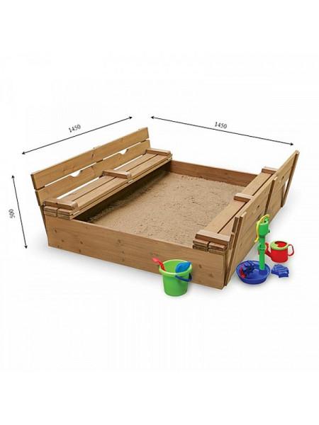 Песочница деревянная с крышкой тонированная 145 см