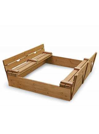 Песочница деревянная с крышкой тонированная двухметровая