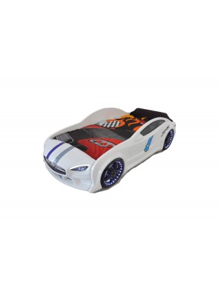 Кровать машина GT с подсветкой 80х160 белая