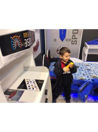 Детская кровать машина - с мягкой спинкой, Ауди черная 190х90 см