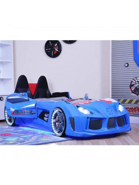 Дитяче ліжко машина - з м'якою спинкою, Ауді синя 190х90 см