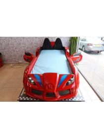 Кровать машина с подсветкой - с мягкой спинкой, Ауди красная 190х90 см
