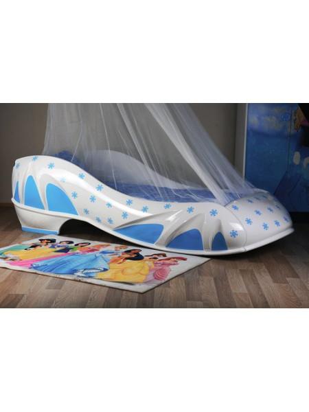 Кровать-туфелька Снежинка бело-голубая