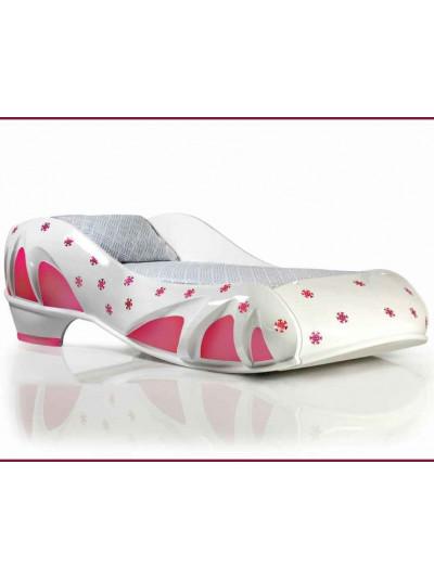Кровать-туфелька Снежинка бело-розовая