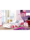 Кровать-туфелька Снежинка розовая