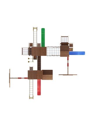 Игровая площадка из дерева Башня с домиком-17
